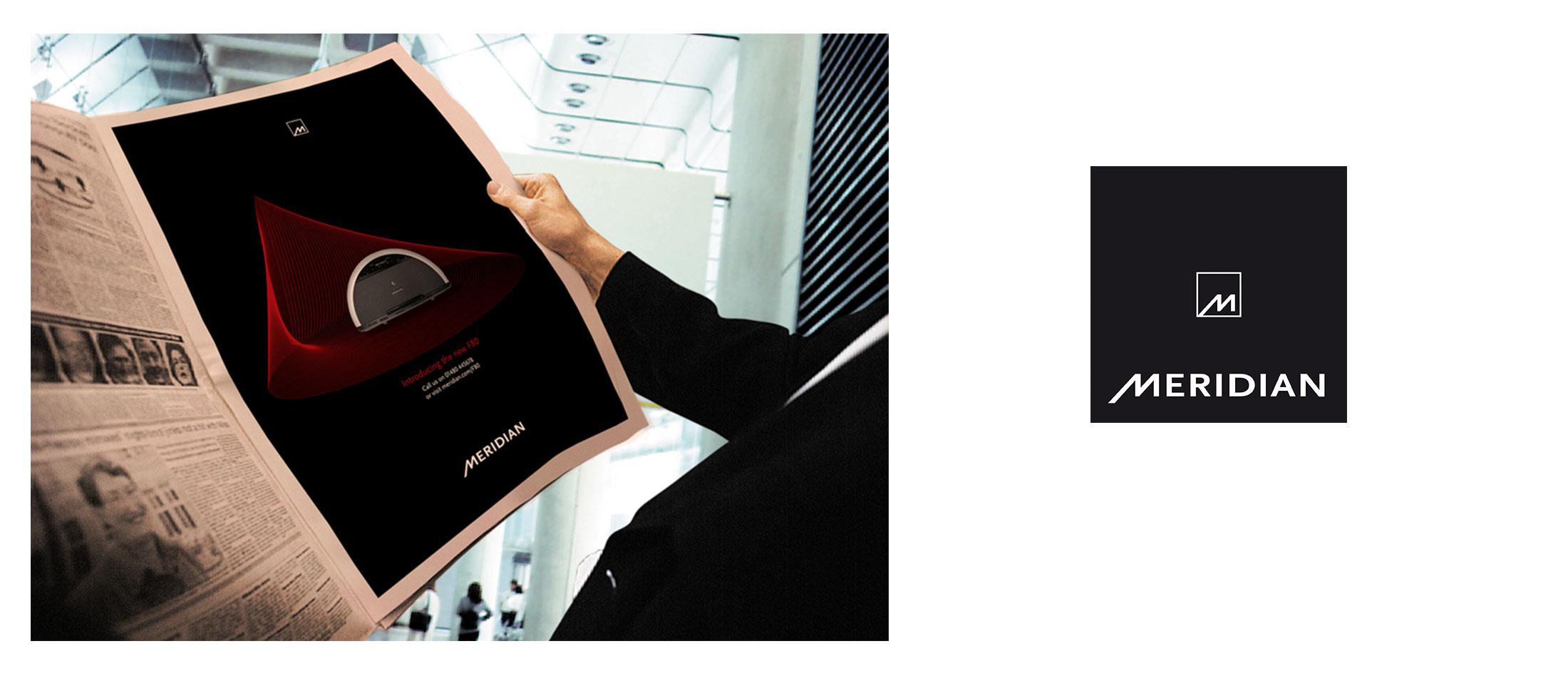 Branding and print advertising design for Meridian Audio