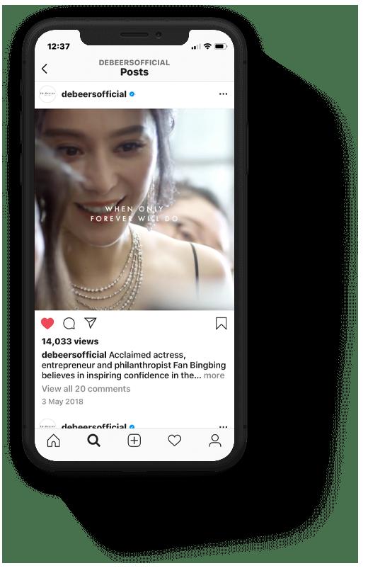 Digital social advertising content for De Beers