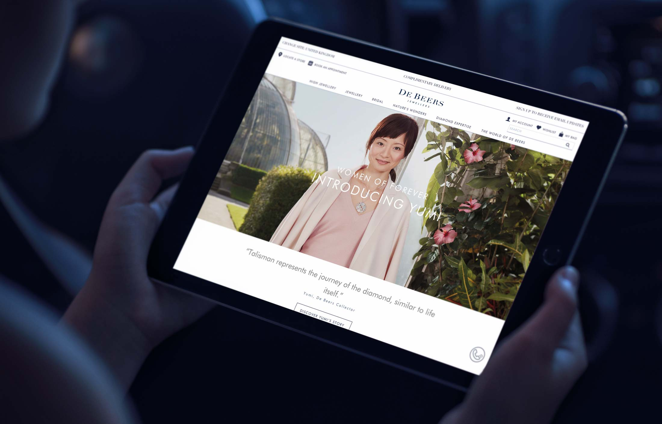 Landing page for digital advertising campaign for De Beers Jewellers