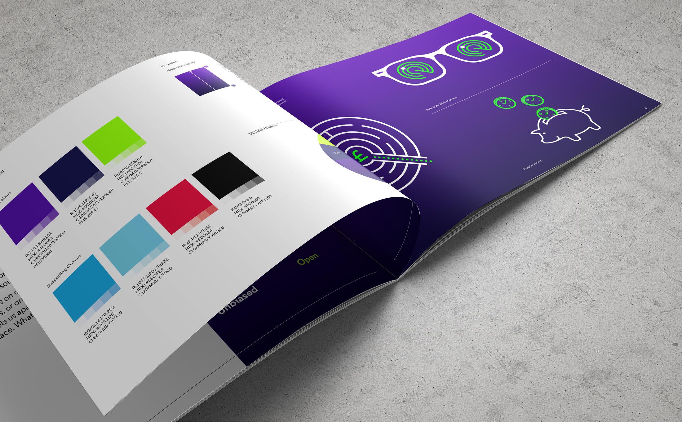 Brand identity design explained through brand guidelines document