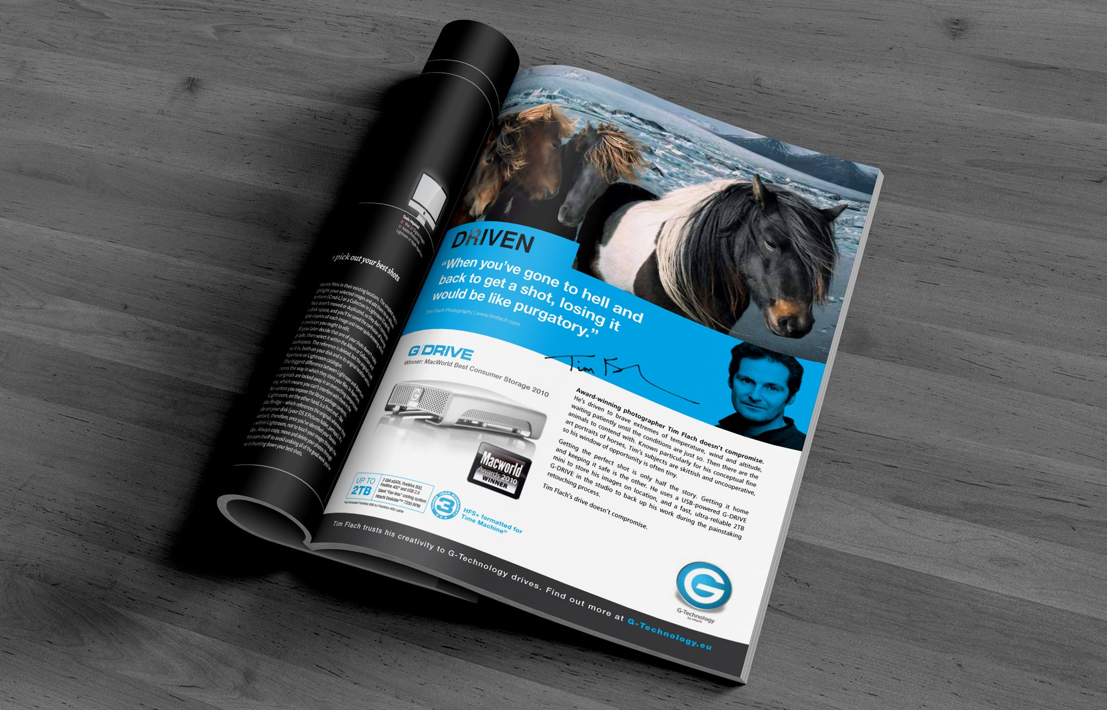 Print advertising design for B2C/B2B clients such as G-Technology