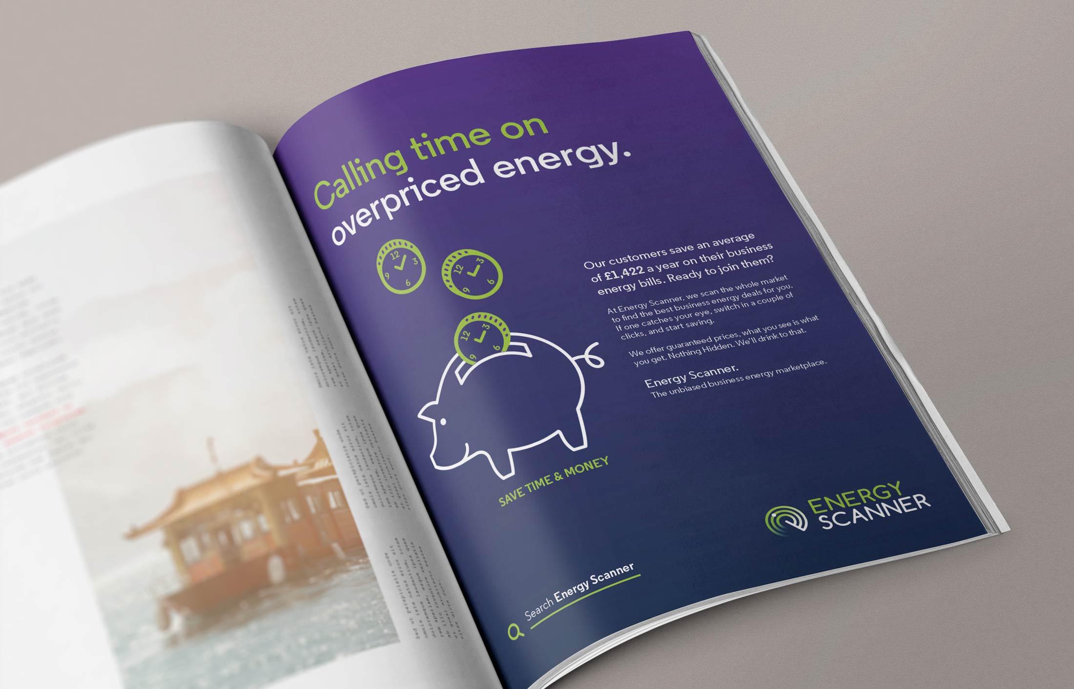 Print advertising design for B2B client Energy Scanner