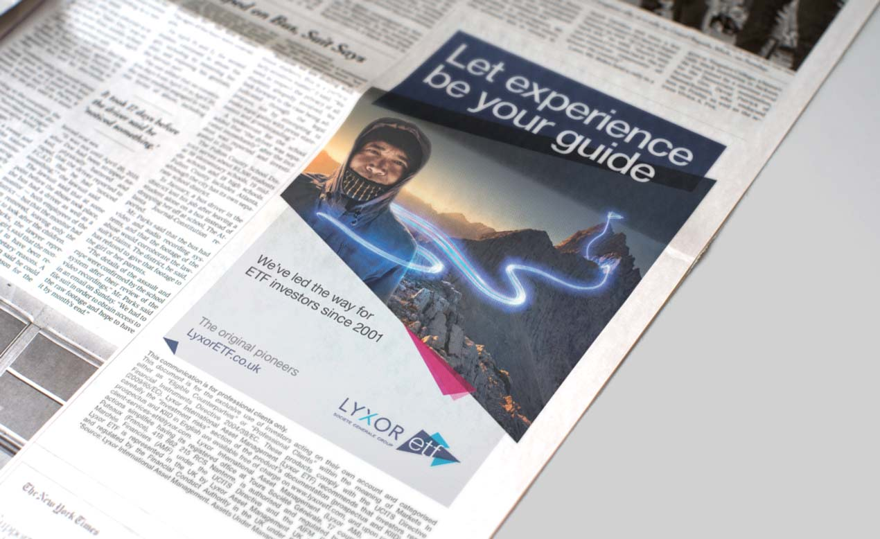 Print advertising design for finance clients such as Lyxor