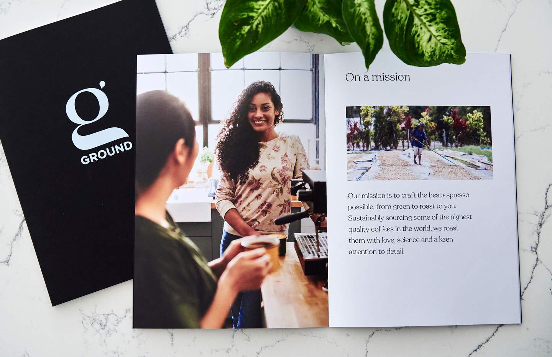 Relish Integrated print design coffee company Ground Coffee Society