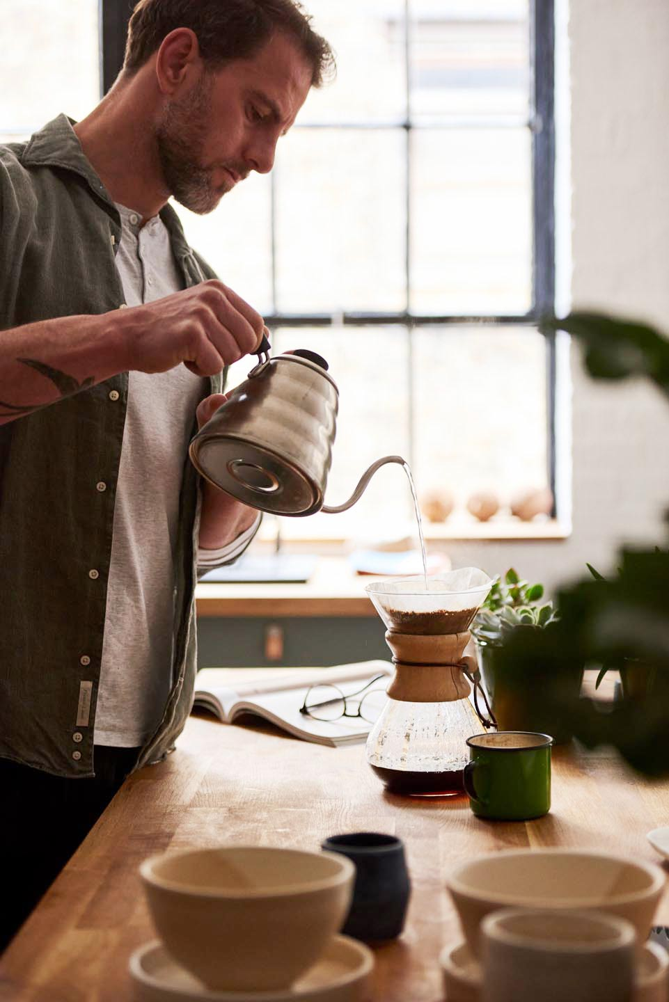 Relish Integrated Del Manning lifestyle photography brand photography man pour over coffee