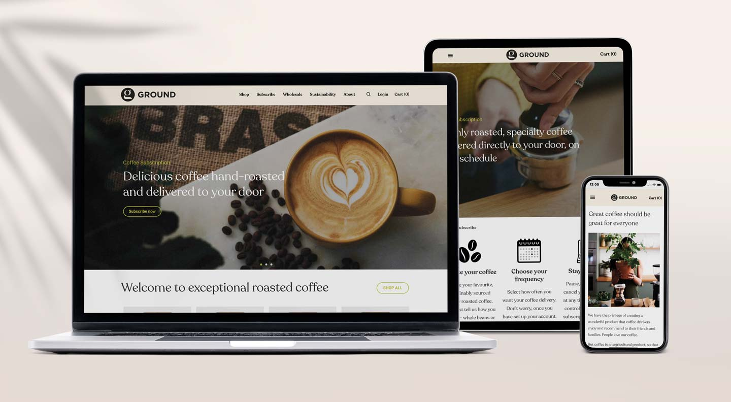 Relish Integrated responsive website design coffee company Ground Coffee Society